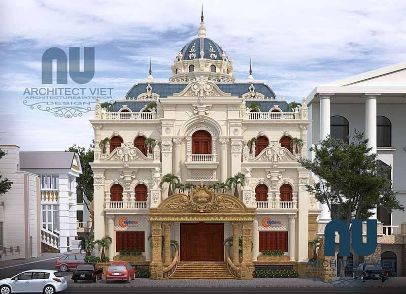 thiết kế biệt thự cổ điển kiểu Pháp đẹp