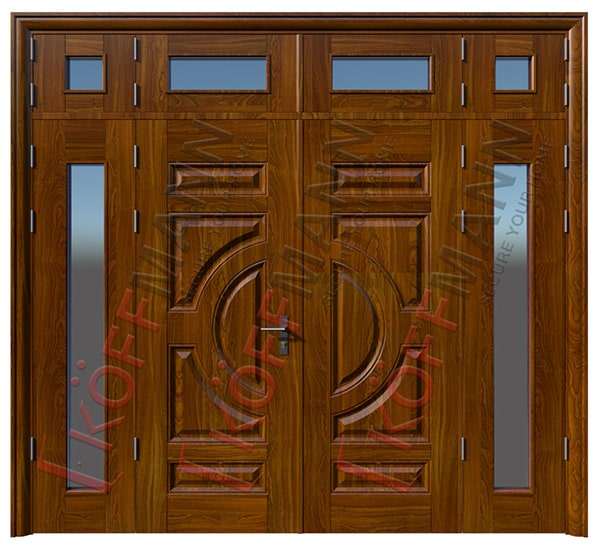 cửa sắt vân gỗ 4 cánh