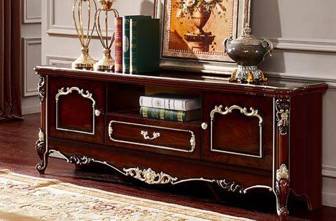 kệ tivi bằng gỗ tự nhiên phong cách cổ điển