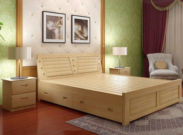 giường ngủ có ngăn kéo bằng gỗ
