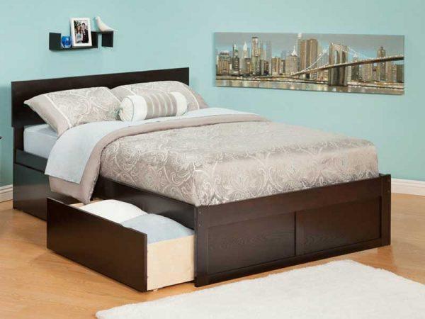 mẫu giường ngủ có ngăn kéo màu nâu